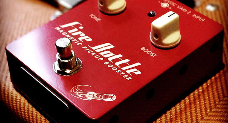 Fire Bottle Booster pedal on a guitar amplifier