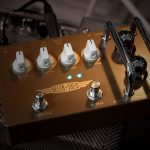 Effectrode Delta-Trem guitar Tremolo pedal on an amp