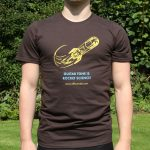 A Brown Tshirt with Effectrode rocket logo