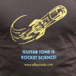 Close up of an effectrode rocket logo on tshirt