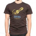 A Brown t-shirt with effectrode rocket logo