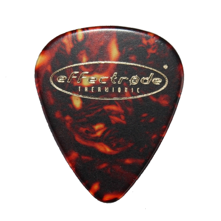 Guitar pick with effectrode logo