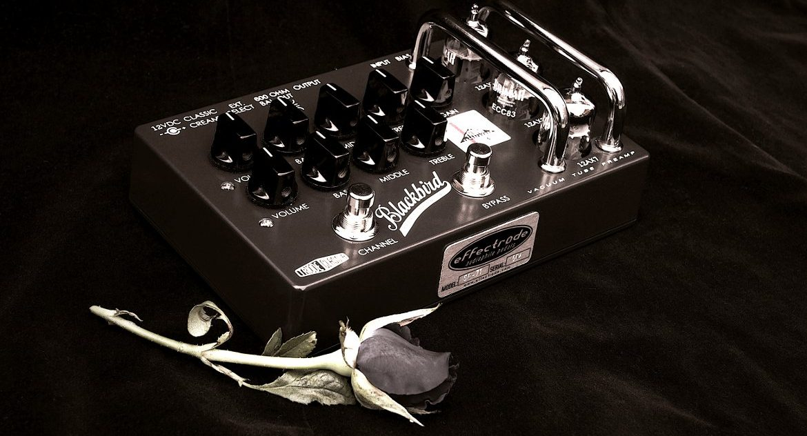 Effectrode Blackbird Guitar Preamp pedal and rose