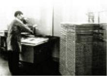 Printed Circuit Board (PCB) fabrication – photograph taken 1970s